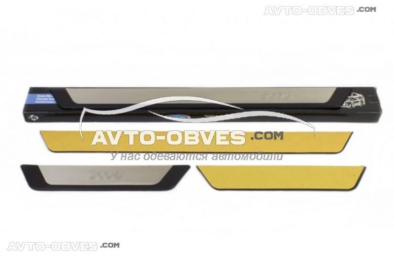 Накладки на боковые пороги Peugeot 301 2012-... - нержавейка