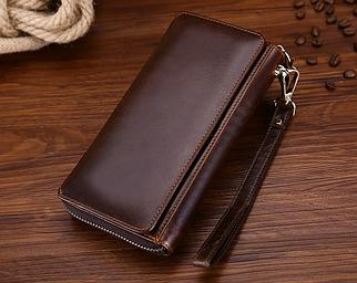 Мужской кошелек-портмоне Joyir из мягкой натуральной  кожи черный