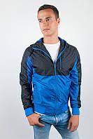 Ветровка мужская с капюшоном №57F106 (Сине-черный)