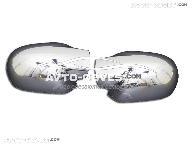 Накладки на зеркала заднего вида Renault Logan, нержавейка Carmos