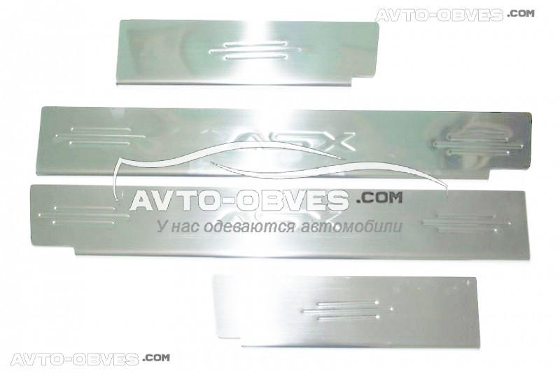 Накладки на дверные пороги Mitsubishi ASX 2010-2013, нержавейка