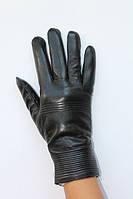 Женские кожанные перчатки утепленные на меху черные