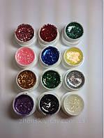 Набор глиттерных цветных гелей СОСО 12 шт