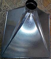 Зонт вытяжной из оцинковки 3-х скатный, 600*600 / Ø 125