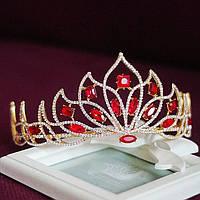 Корона, диадема, тиара, под золото с красными камнями, высота 7,5 см.