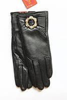 Кожаные женские перчатки черные с брошкой Маленькие
