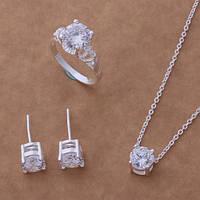 """Набор бижутерии """"Кристал"""" (серьги, кулон с цепочкой, кольцо)Tiffany покрытие серебром 925"""