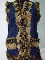 Жилет женский из натуральной овчины-очень тёплый цвет синий длина 75см 48р-50р ОГ-102 ОБ-106
