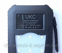 Внешний аккумулятор UKC 25800 mAh с солнечной панелью и мощным светодиодным фонарем, POWER BANK Solar Led, фото 3