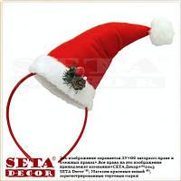 Колпак Санта на обруче новогодний плюшевый
