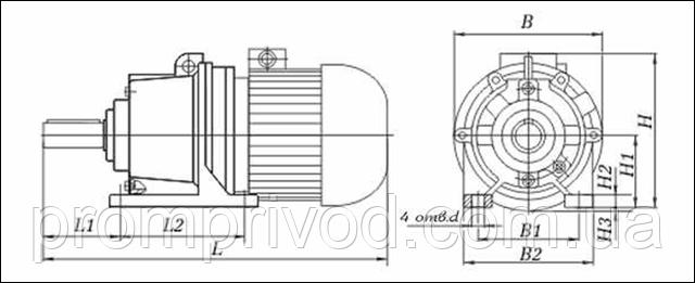 Присоединительные и габаритные размеры мотор-редуктора 4МП на лапах