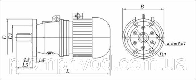 Присоединительные и габаритные размеры мотор редуктора 4МП на фланце