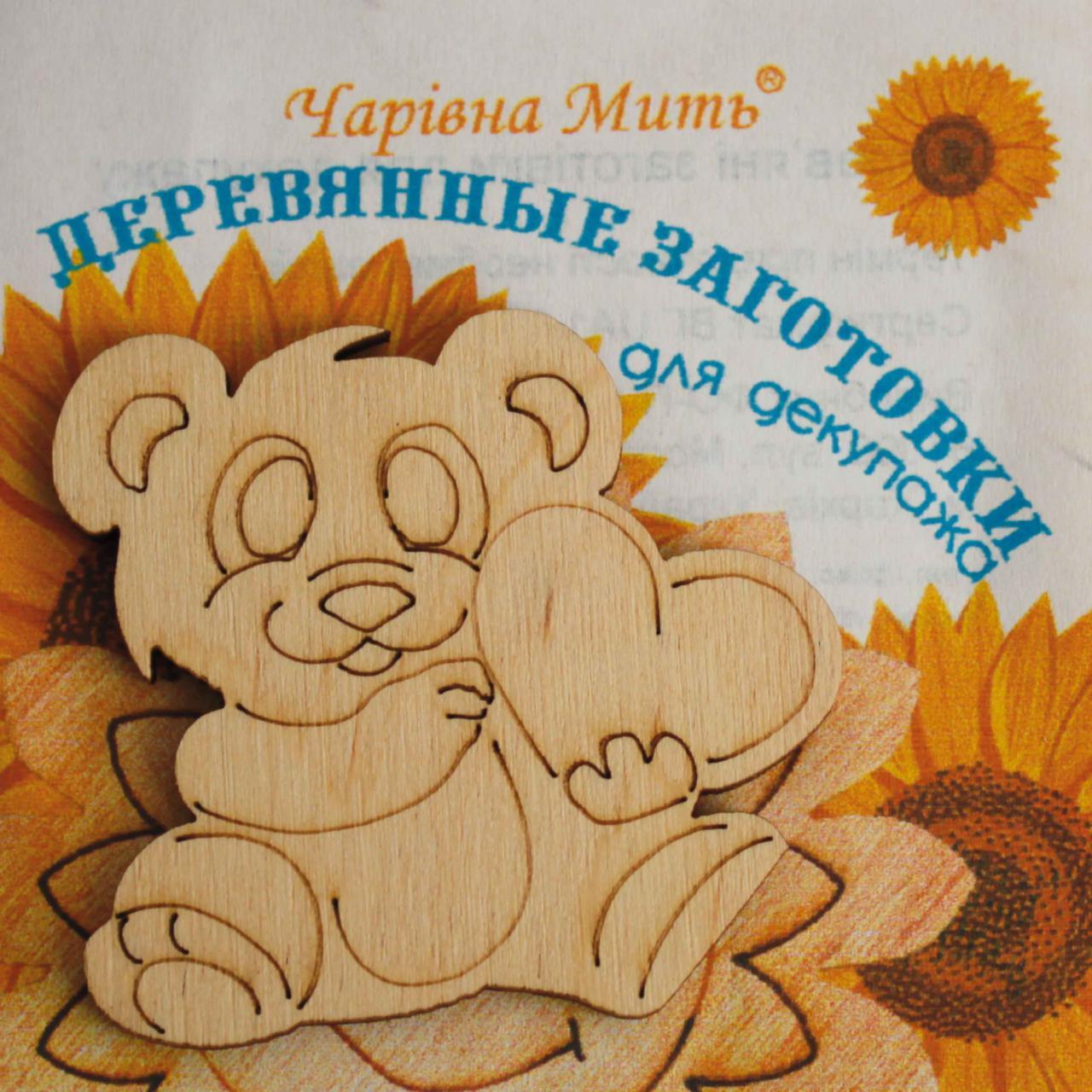 Заготовка из фанеры МИШКА, 5х5 см
