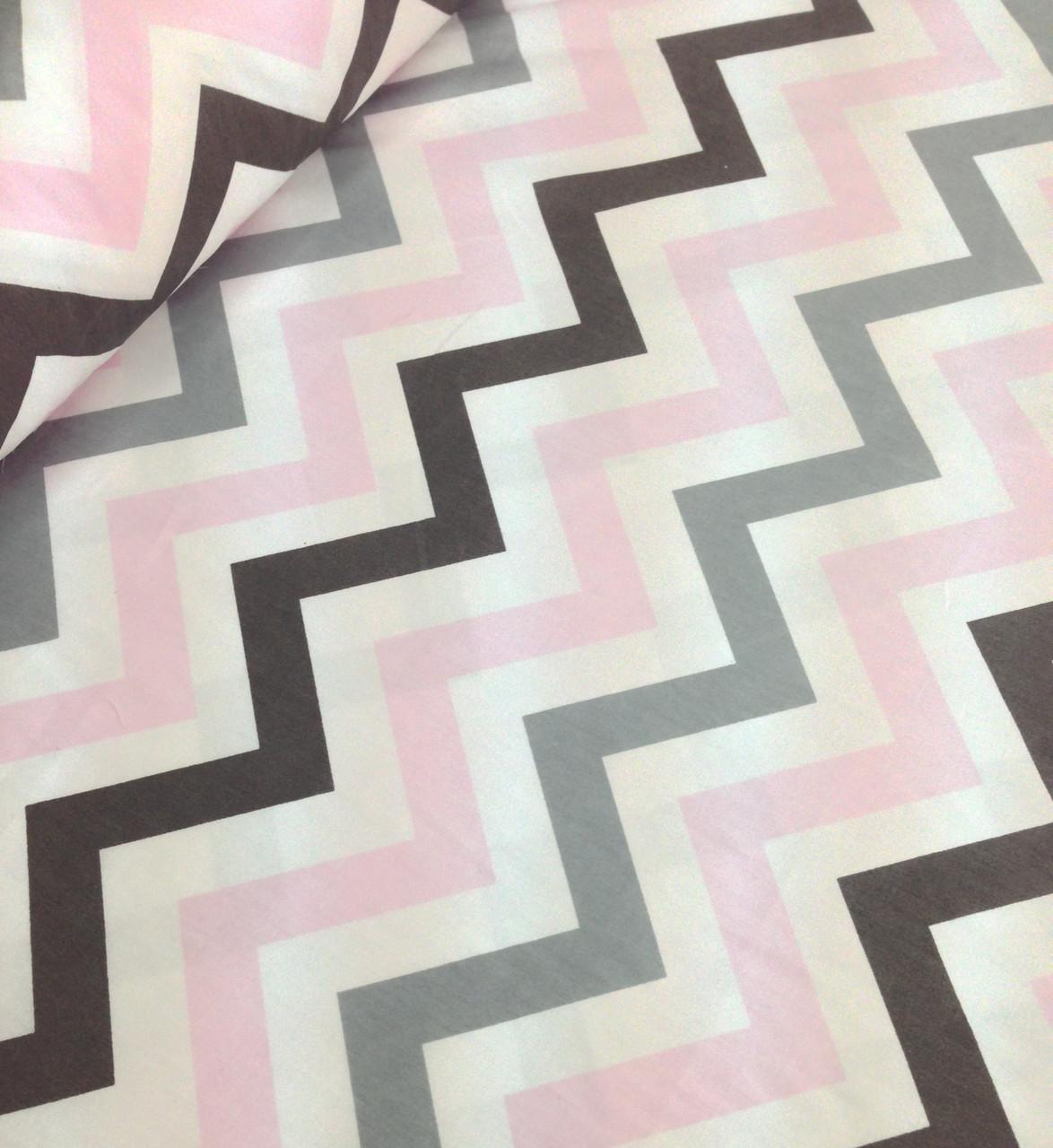 Хлопковая ткань зигзаг серо-розово-графитовый (Корея)