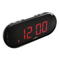 Часы сетевые 717-1 красные, электронные часы, сетевые часы, часы радио, говорящие часы