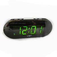 Часы сетевые 717-2 зеленые, электронные часы, сетевые часы, часы радио, говорящие часы