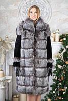 "Шуба полушубок жилет из чернобурки ""Рамина"" silver fox fur coat jacket"