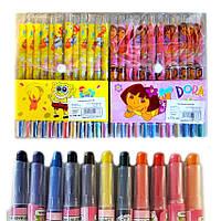 Мел ВОСКОВЫЙ цветной-карандаш 12 штук