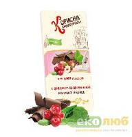 Шоколадная плитка молочная с фундуком и клюквой