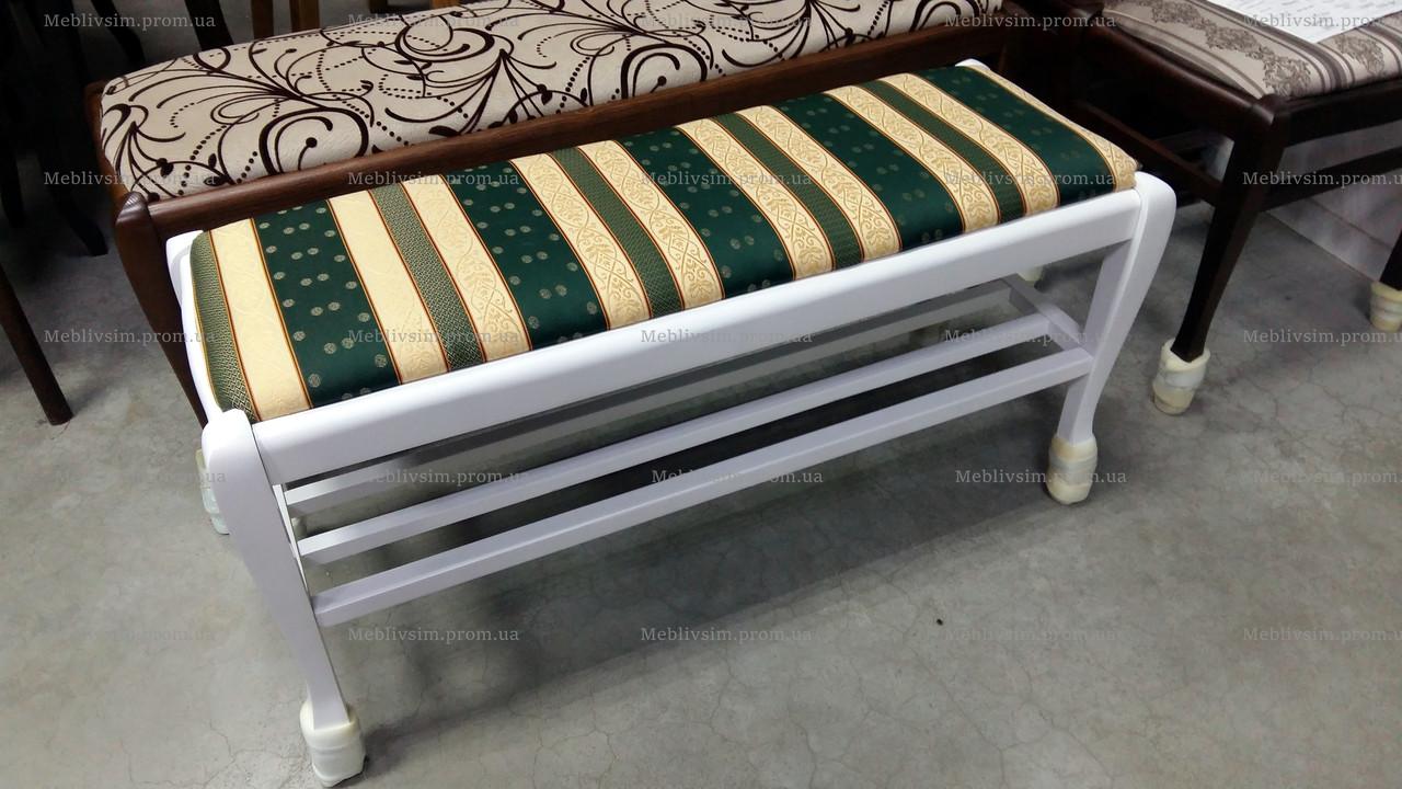 Банкетка с полкой Сиеста Микс мебель, цвет белый
