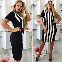 Платье силуэтное черно-белое в полоску 185 Батал! (МГ)