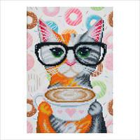 """Схема для частичной вышивки бисером """"Кофейная кошка"""""""
