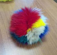 Бубон (помпон) разноцветный из натурального меха, диаметр 7-12 см, фото 1