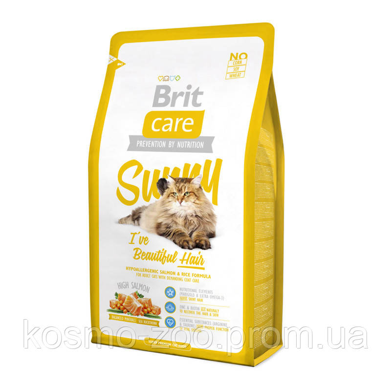 Сухой корм для кошек Brit Care Cat Sunny (Брит Кеа Санни), с лососем и рисом для красоты кожи и шерсти, 2 кг