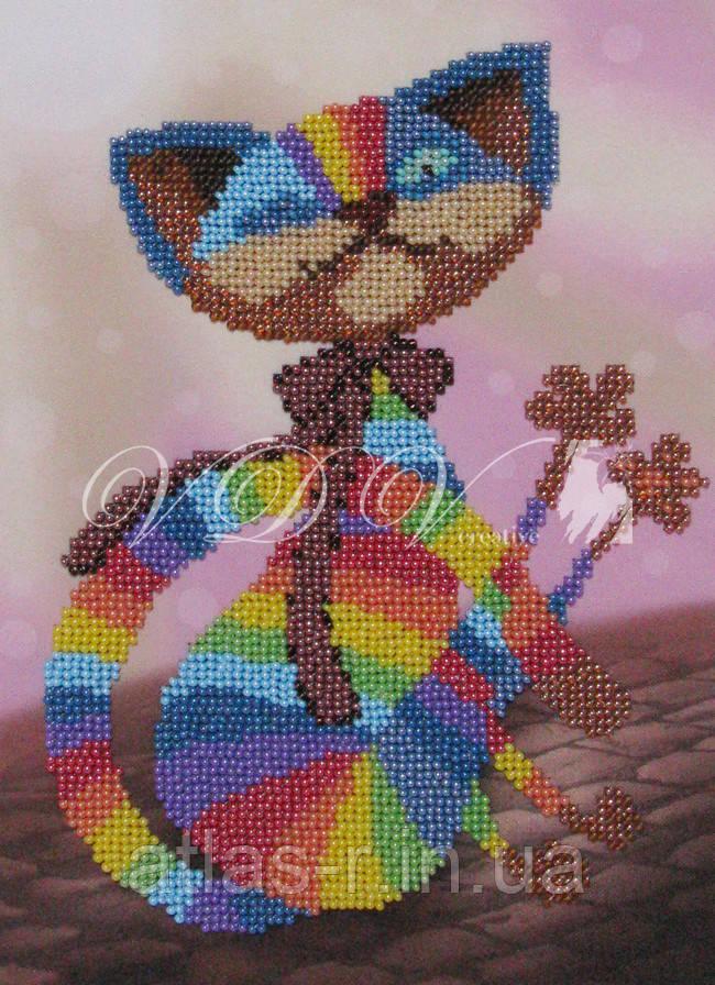 """Схема для частичной вышивки бисером """"Цветной кот"""""""