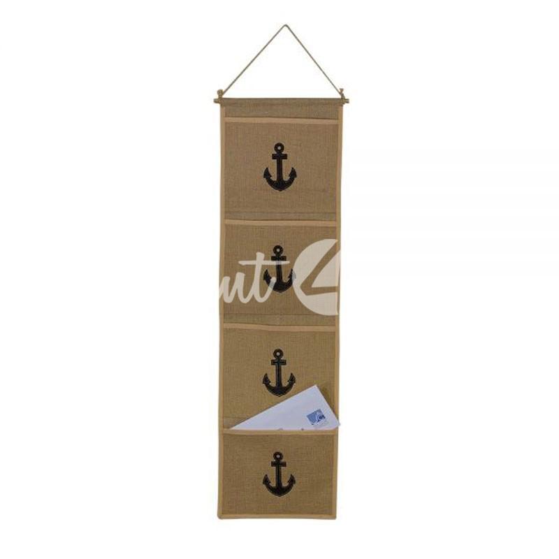 Морской сувенир вешалка из парусины с кармашками, 28х82,5 см.