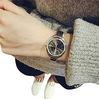 Женские наручные металлические часы кварцевые Luxo черные, серебристые