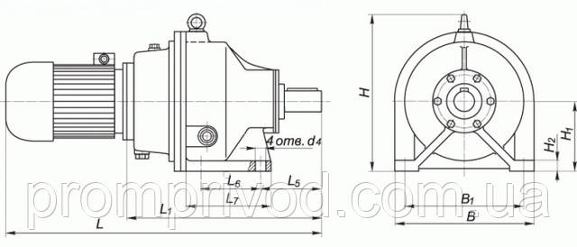 Присоединительные и габаритные размеры мотор редуктора (на лапах)
