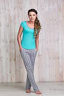 Комплект Sambario футболка/брюки SV-8575 M Ментоловый/Принт мозаика