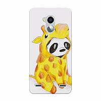 Чехол накладка силиконовая для ZTE Blade V7 Lite с рисунком Панда в костюме жирафа