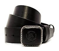 Стильный мужской кожаный ремень Diesel под джинсы или кежуал брюки с красивой  пряжкой в черном цвете (11214)