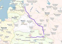 Киев, Украина → Гоптовка - Нехотеевка → Псков, Россия