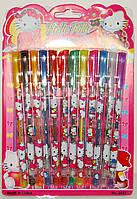 Гелевые ручки 12 цветов Хелоу Китти в блистере (с блестками)