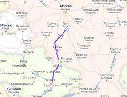 Запорожье, Украина → Гоптовка - Нехотеевка→ Киреевск, Россия