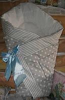 Демисезонный конверт-одеял на выписку осень/весна , 90х90- Горох -полоска