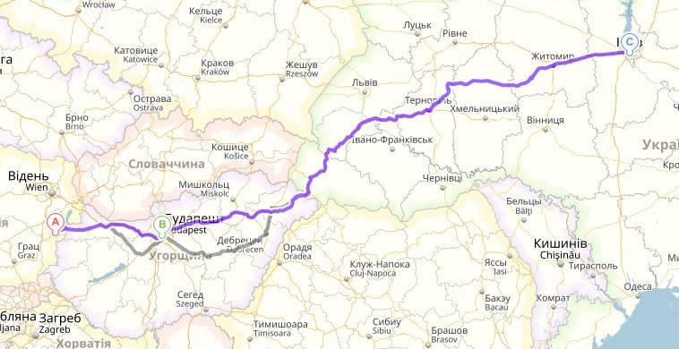Нойталь, Австрия - Будапешт, Венгрия - Киев,Украина