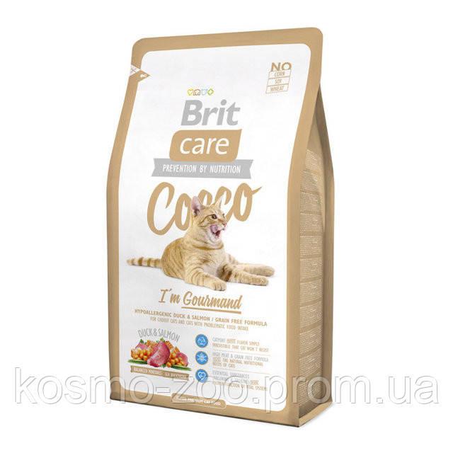Сухой корм для кошек Brit Care Cocco (Брит Кеа Кокко), с уткой и лососем для привередливых котов, 2 кг
