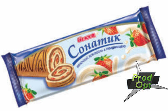 Рулет Сонатик молочный коктейль з полуницею 150 г, фото 2