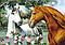 Схема для вышивки бисером А3 Пара лошадей КМР 3016