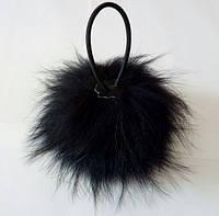 Заколка для волос на резинке из натурального меха черного цвета, фото 1