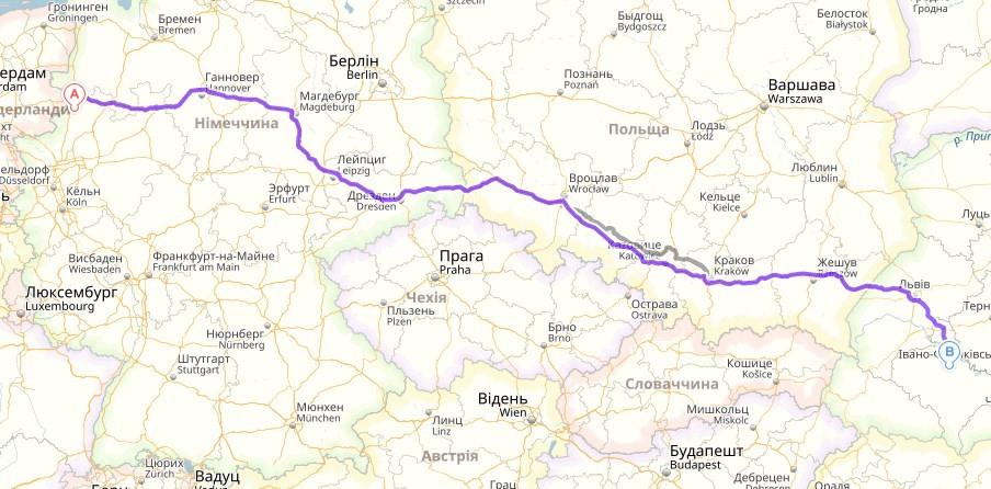 Охтруп, Германия →  Ивано-Франковск, Украина