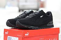 Мужские кроссовки Puma, натуральный нубук, черные / кроссовки мужские Пума, модные