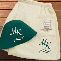 Набор для сауны: шапка и юбка с Вашими инициалами