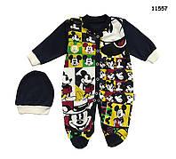 Человечек Mickey Mouse с шапочкой для мальчика. 68, 74 см
