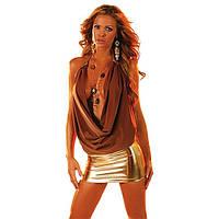 Стрейчевое мини-платье коричневое