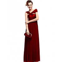 РАСПРОДАЖА! Ярко-красное вечернее длинное платье с открытым плечом